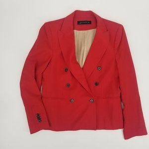 Zara Red Double Breasted Wool Blazer